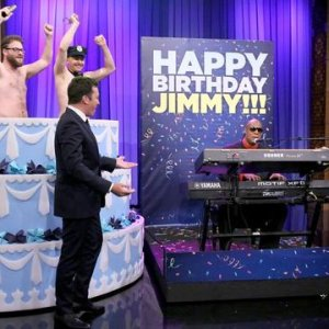 Watch James Franco And Seth Rogen's Surprise Striptease For Jimmy Fallon's 40th Birthday