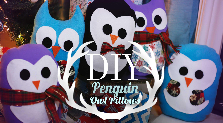 Cute Animal Pillows Diy : Diy Super Cute Penguin & Owl Pillows Easy Gift Ideas Anneorshine ? INTHEFAME